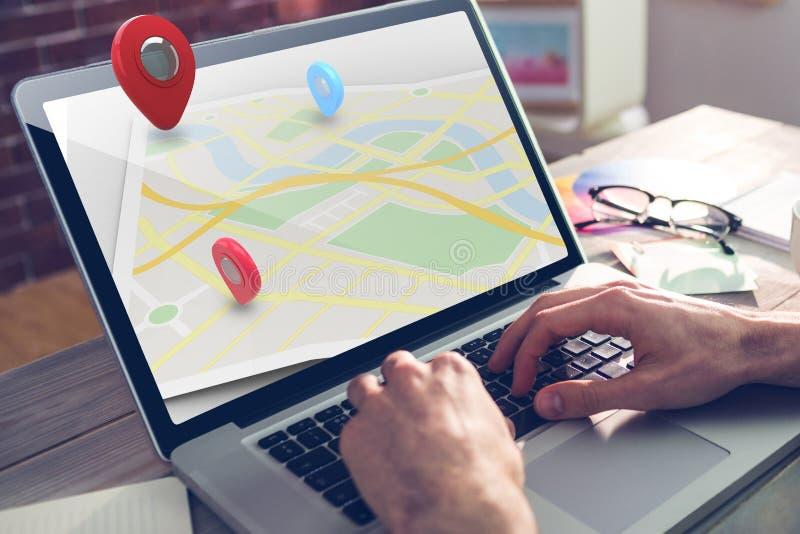 Złożony wizerunek mapy lokaci markier obraz royalty free