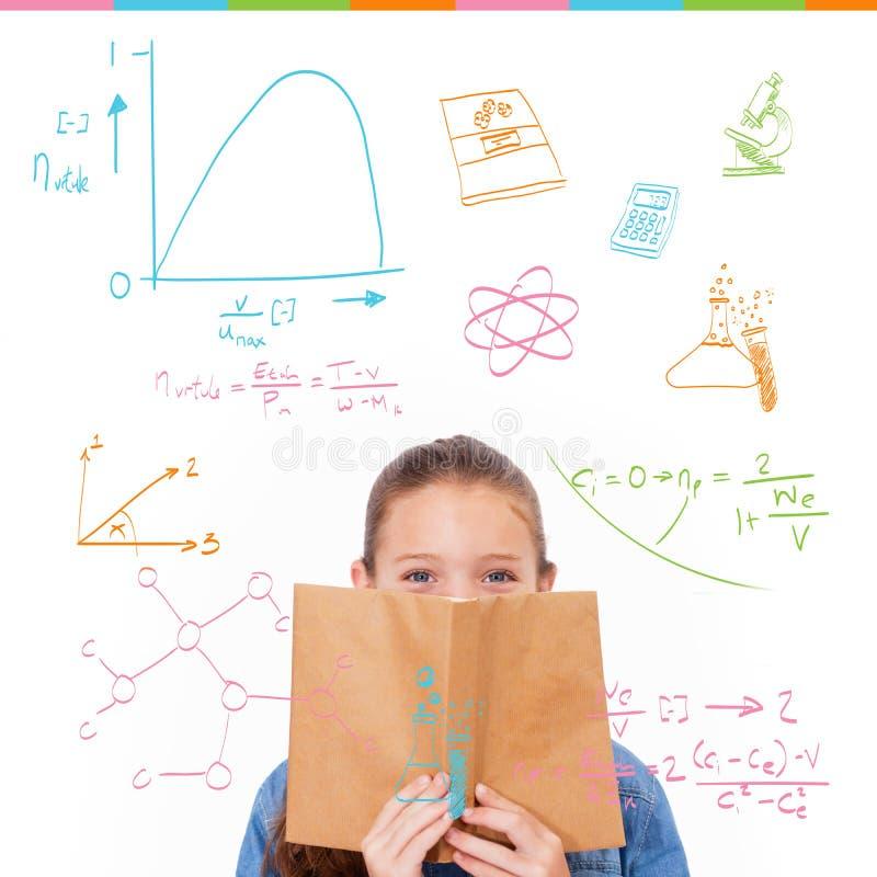 Złożony wizerunek matematyki i nauki doodles fotografia royalty free