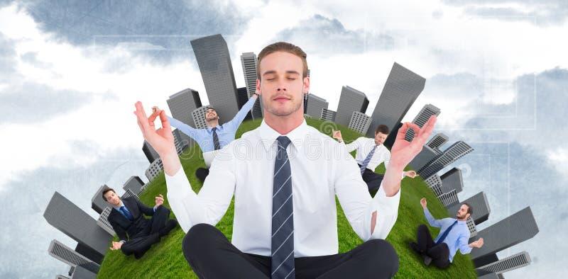 Złożony wizerunek medytuje w lotos pozie biznesmen obrazy stock