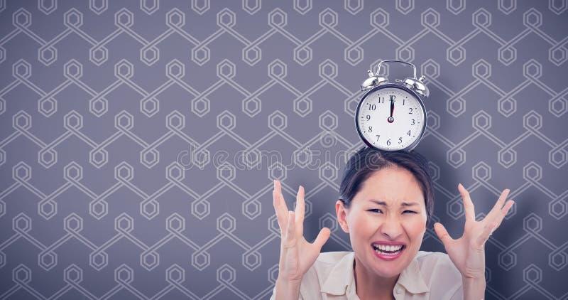 Złożony wizerunek midnight czas na zegarze obrazy stock