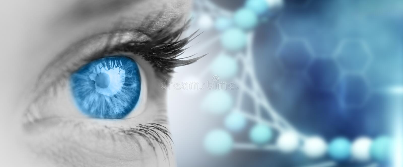 Złożony wizerunek niebieskie oko na popielatej twarzy obrazy royalty free