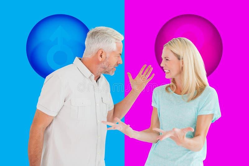 Złożony wizerunek nieszczęśliwa para ma argument obraz royalty free