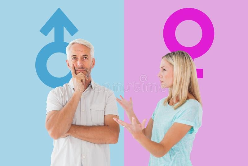 Złożony wizerunek nieszczęśliwa para ma argument z mężczyzna no słucha zdjęcie stock