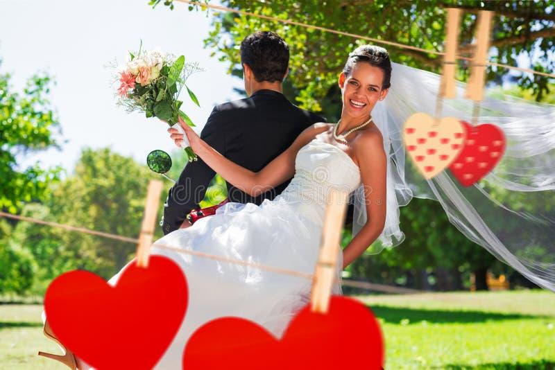 Złożony wizerunek nowożeńcy pary obsiadanie na hulajnoga w parku ilustracja wektor
