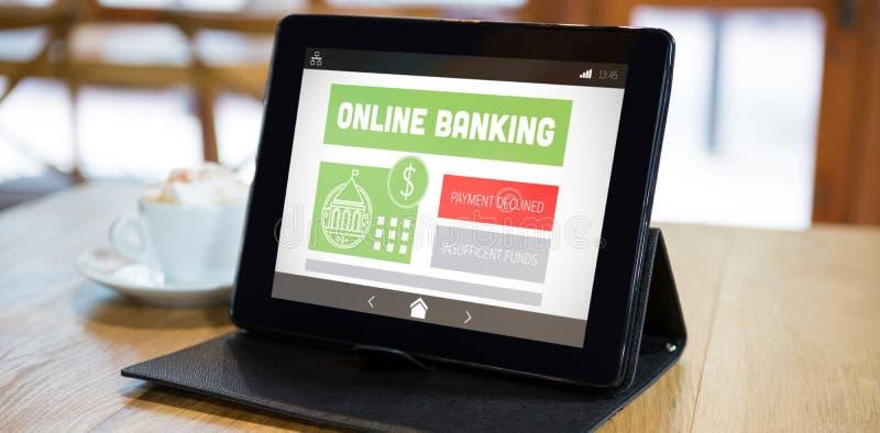 Złożony wizerunek online bankowość i zapłata obniżaliśmy tekst na wisząca ozdoba ekranie zdjęcie stock