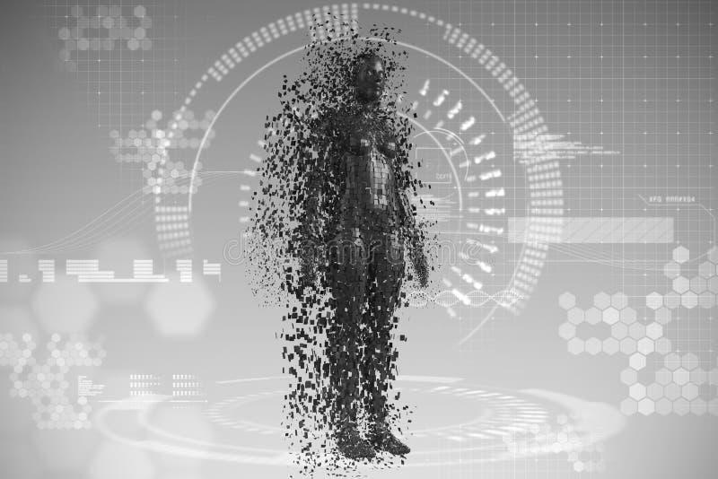 Złożony wizerunek pełna długość czerń pixelated 3d kobiety ilustracja wektor