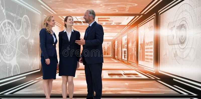 Złożony wizerunek pełna długość ludzie biznesu dyskutuje przeciw białemu tłu ilustracja wektor