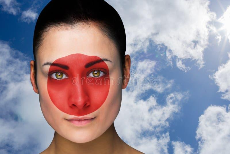Złożony wizerunek piękna brunetka w Japan facepaint obrazy stock