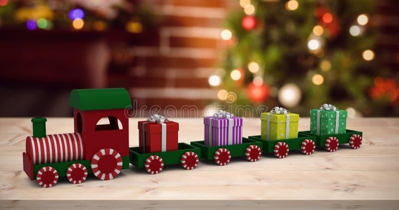 Złożony wizerunek pociągu modela przewożenia prezenta pudełka ilustracja wektor