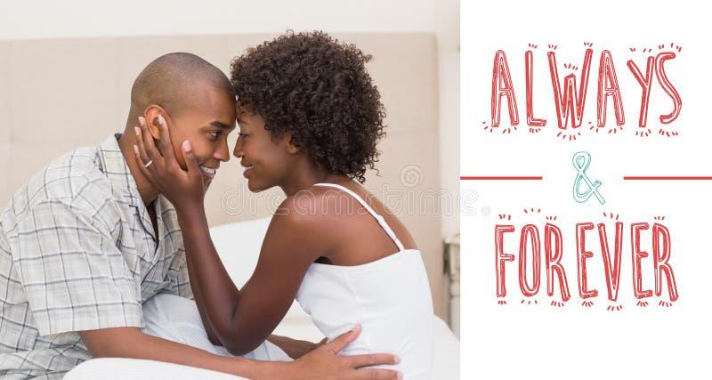 Złożony wizerunek pokazuje afekcję na łóżku szczęśliwa para ilustracja wektor