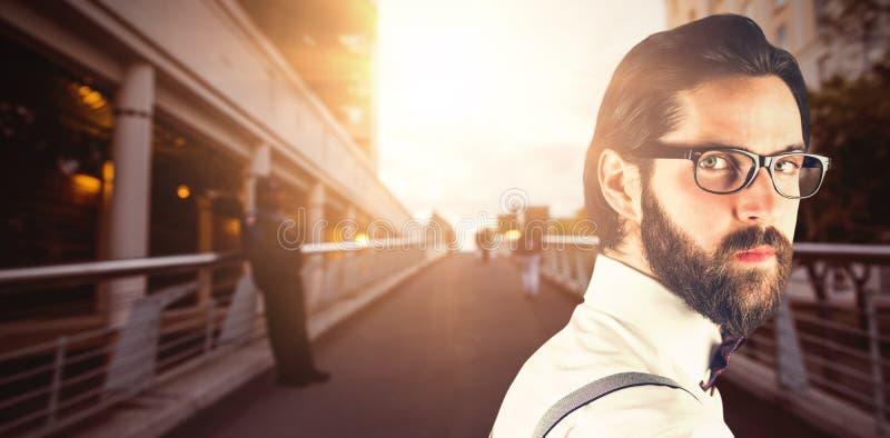 Złożony wizerunek portret jest ubranym eyeglasses mężczyzna fotografia royalty free