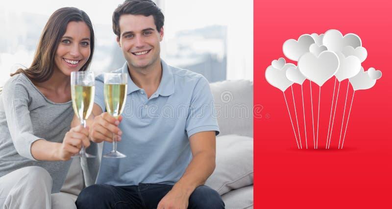 Złożony wizerunek portret kochankowie wznosi toast ich flety szampan royalty ilustracja