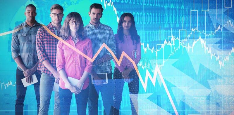 Złożony wizerunek portret ludzie biznesu trzyma pastylka komputery obrazy royalty free