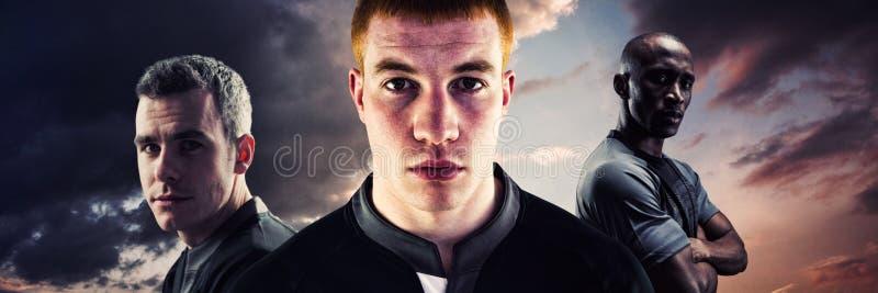 Złożony wizerunek portret młody rugby gracz zdjęcia stock