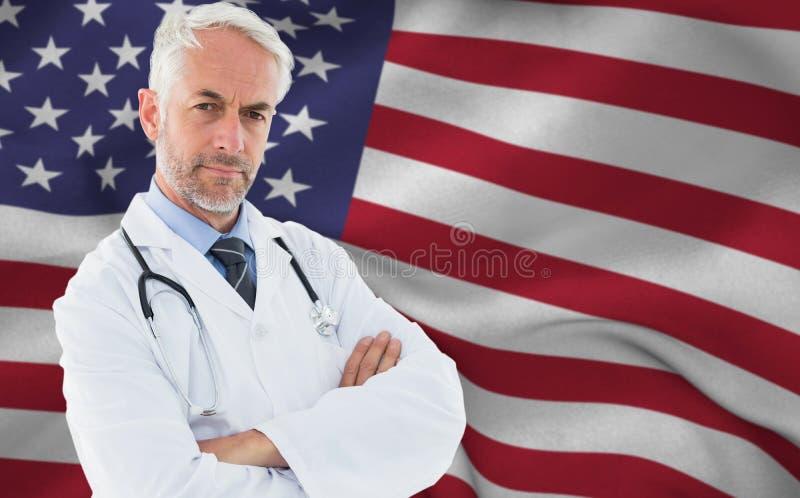 Złożony wizerunek portret poważna ufna samiec lekarka przy medycznym biurem zdjęcia royalty free