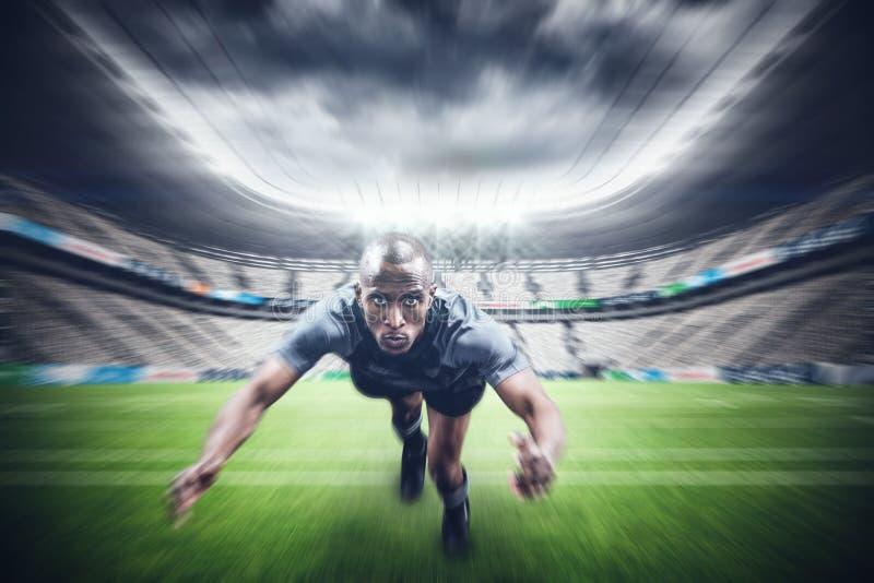 Złożony wizerunek portret rugby gracza doskakiwanie zdjęcia royalty free