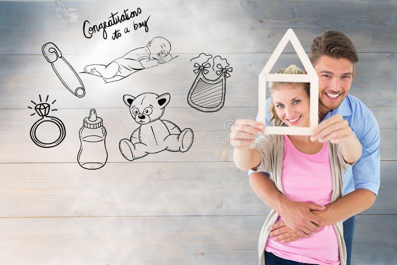 Złożony wizerunek potomstwa dobiera się przytulenia i mienia domu kontur obrazy stock