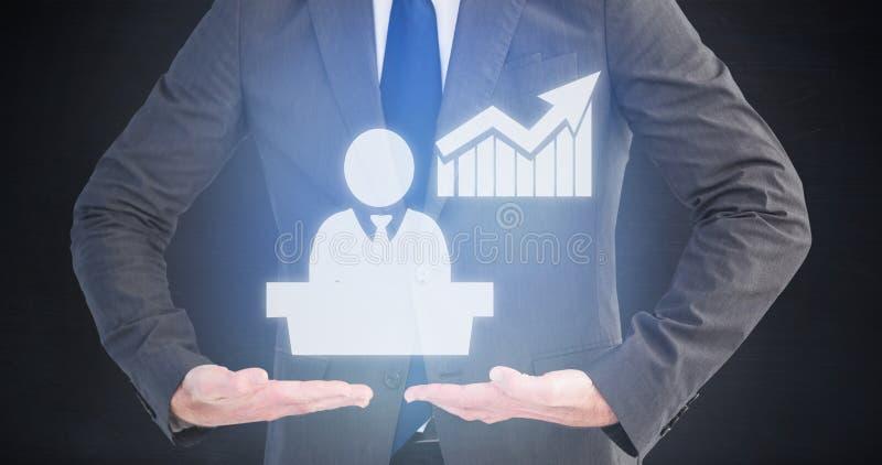Złożony wizerunek przedstawia twój produkt z rękami biznesmen zdjęcia royalty free