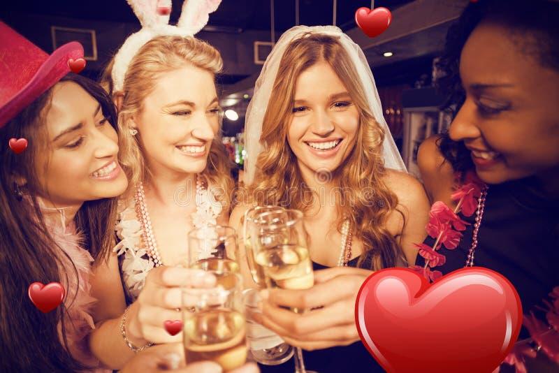 Złożony wizerunek przyjaciele świętuje bachelorette przyjęcia fotografia stock