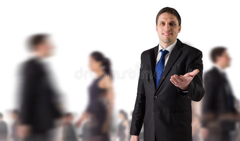 Złożony wizerunek przystojny biznesmena mienie wręcza out zdjęcia stock