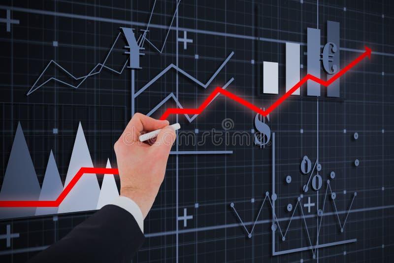 Złożony wizerunek ręka biznesmena writing z białą kredą obraz stock