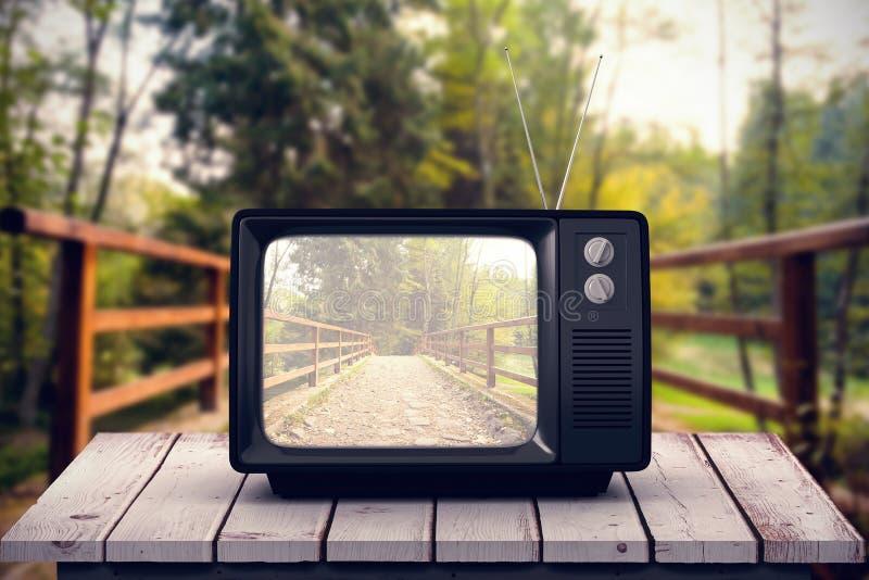 Złożony wizerunek retro tv fotografia royalty free