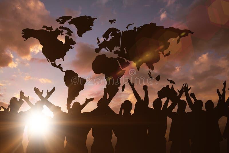 Złożony wizerunek silhouetters świętować zdjęcia stock