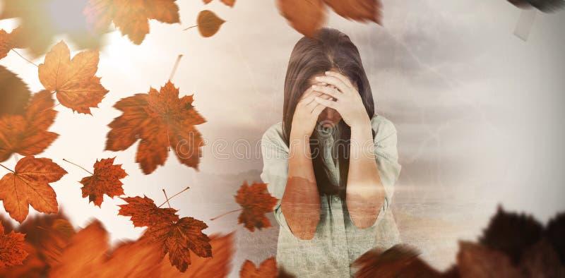 Złożony wizerunek skołatany kobieta płacz royalty ilustracja
