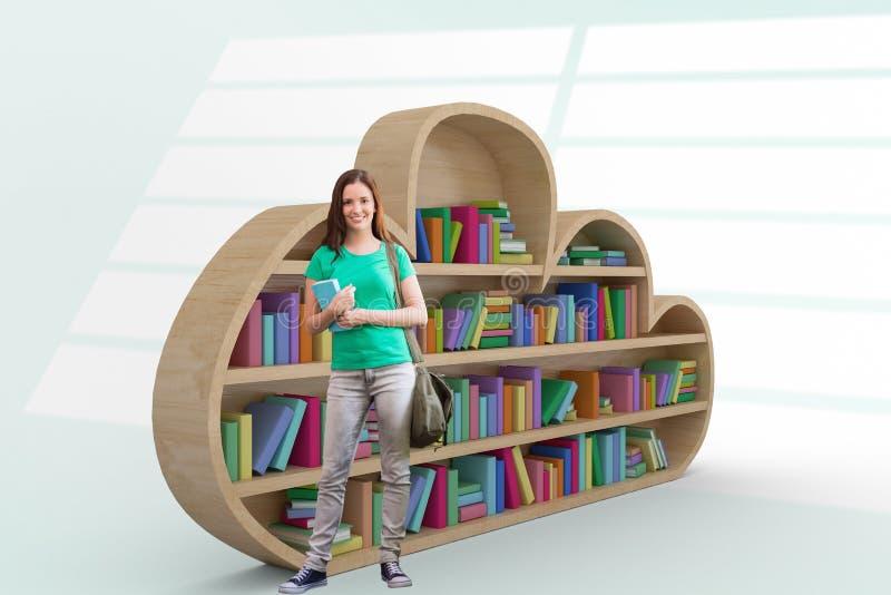 Złożony wizerunek studencki ono uśmiecha się przy kamerą w bibliotece ilustracja wektor