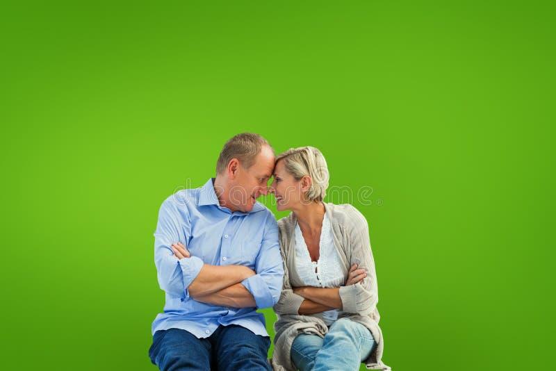 Złożony wizerunek szczęśliwy dorośleć pary ono uśmiecha się przy each inny zdjęcie stock
