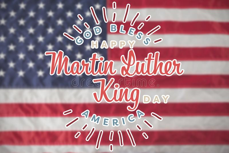 Złożony wizerunek szczęśliwy oknówki luther królewiątka dzień, bóg błogosławi America royalty ilustracja