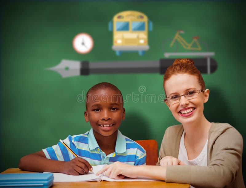 Złożony wizerunek szczęśliwy uczeń i nauczyciel obraz stock