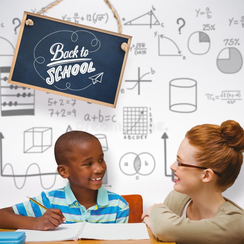 Złożony wizerunek szczęśliwy uczeń i nauczyciel fotografia stock