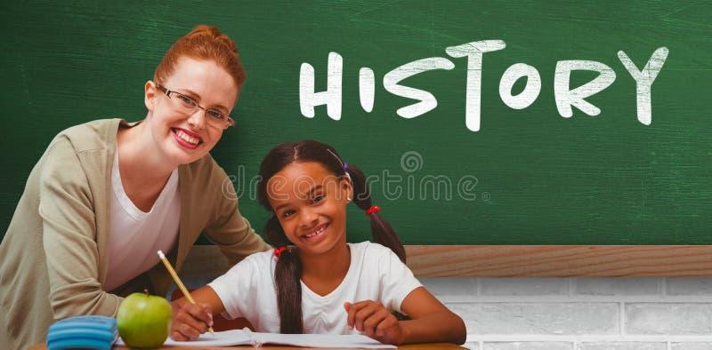 Złożony wizerunek szczęśliwy uczeń i nauczyciel zdjęcie royalty free