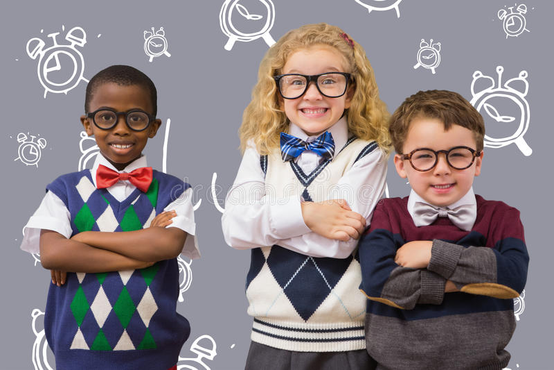 Złożony wizerunek szkolni dzieciaki fotografia stock