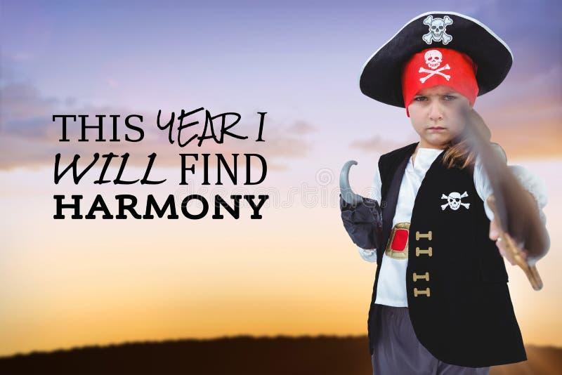Złożony wizerunek udaje być piratem zamaskowana dziewczyna fotografia royalty free