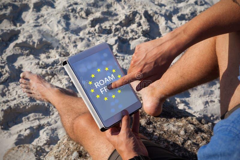 Złożony wizerunek wędruje bezpłatnego tekst na europejskiej zrzeszeniowej flaga obraz royalty free
