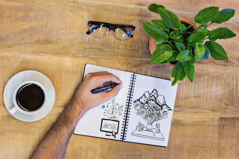 Złożony wizerunek wideo gadka i apps doodle zdjęcie royalty free