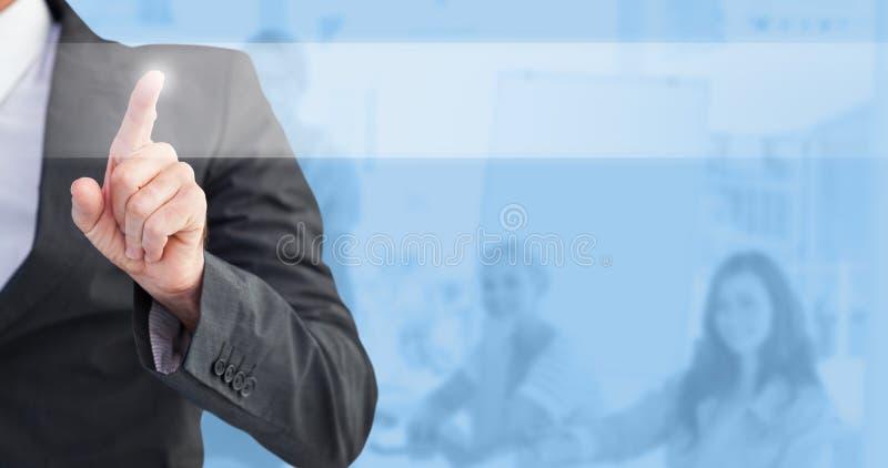 Złożony wizerunek wskazuje jego palcowego przy kamerą biznesmen zdjęcie stock