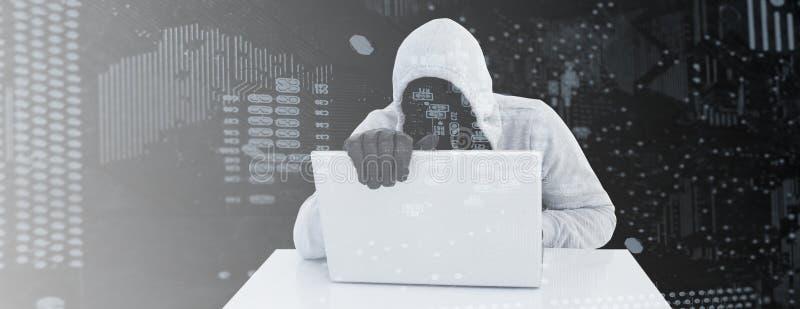 Złożony wizerunek wycieczkowicz w szarym hoodie i rękawiczkach używać laptop ilustracji