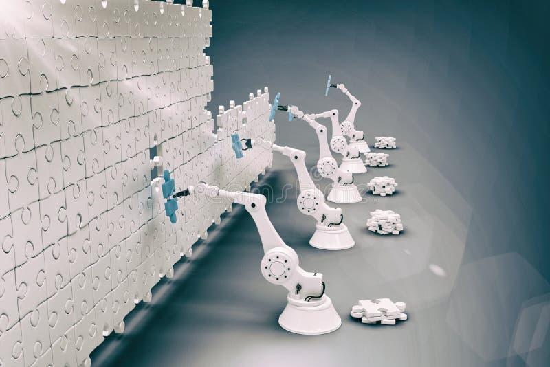 Złożony wizerunek wysokiego kąta widok mechaniczne ręki układa wyrzynarka kawałki na łamigłówce 3d fotografia royalty free