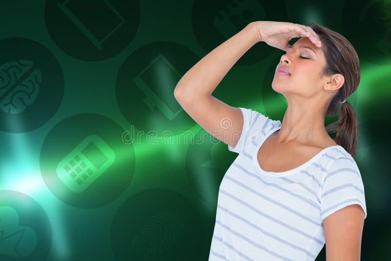 Złożony wizerunek wzburzony kobiety cierpienie od migreny fotografia royalty free