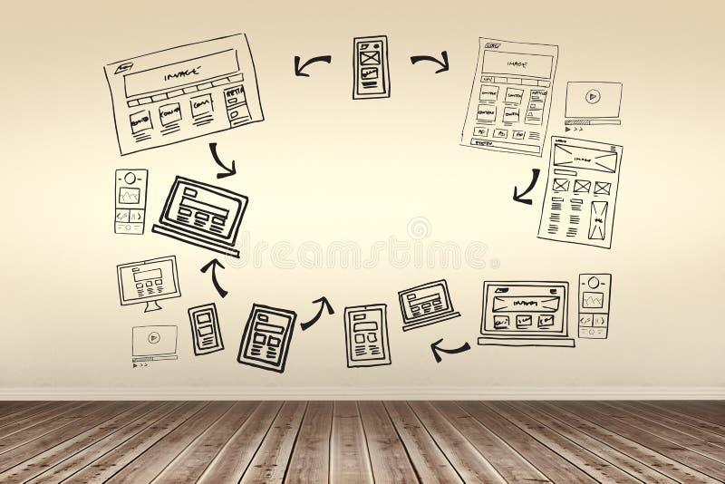 Złożony wizerunek złożony wizerunek różnorodny środek środki i technologie łączył z strzała ilustracja wektor