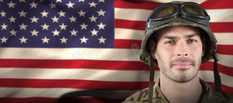 Złożony wizerunek zakończenie up przystojny żołnierz obrazy royalty free