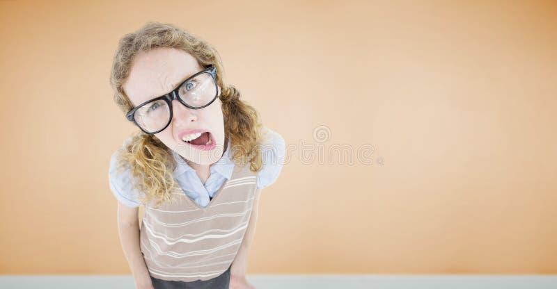 Złożony wizerunek zmieszana geeky modniś kobieta obrazy stock