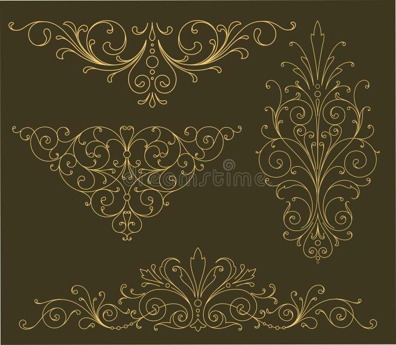 Złociści ślimacznica ornamenty ilustracja wektor