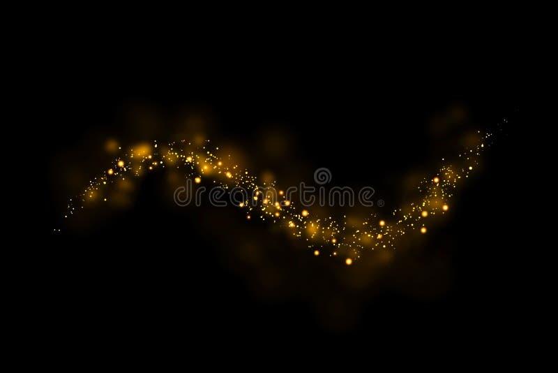 Złociści błyskotliwość cząsteczek światła wlec i bokeh na czarnym tle Abstrakt linii błyskotania tekstura ilustracji