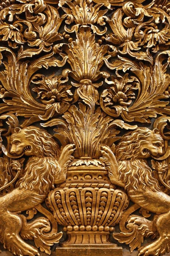 Złociści barokowi ornamenty Malta katedra fotografia royalty free