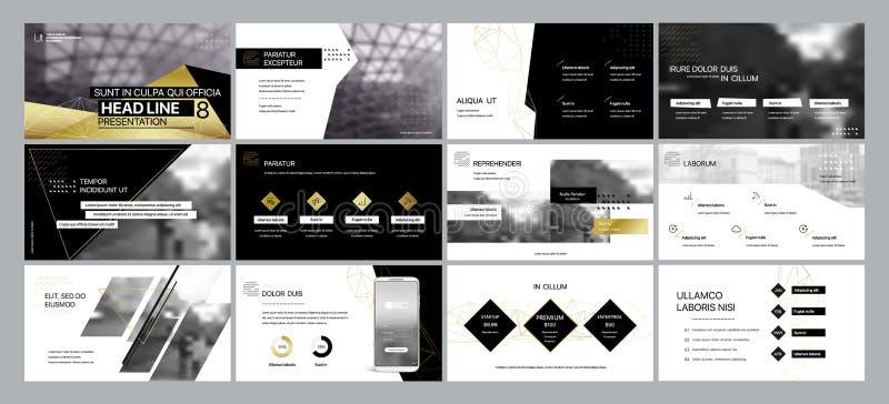 Złociści czarni prezentacja szablonów elementy na białym tle royalty ilustracja