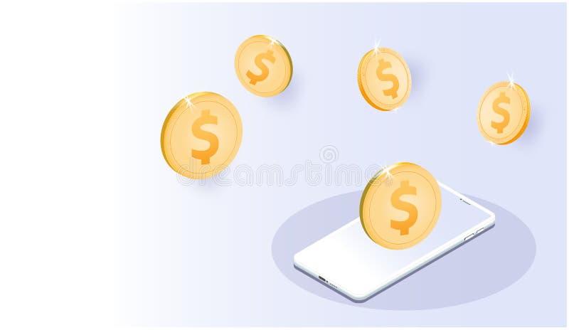 Złociści dolar amerykański monety Smartphones, Wektorowy futurystyczny Mądrze internet rzecz systemu globalnej sieci uczenie bizn ilustracja wektor